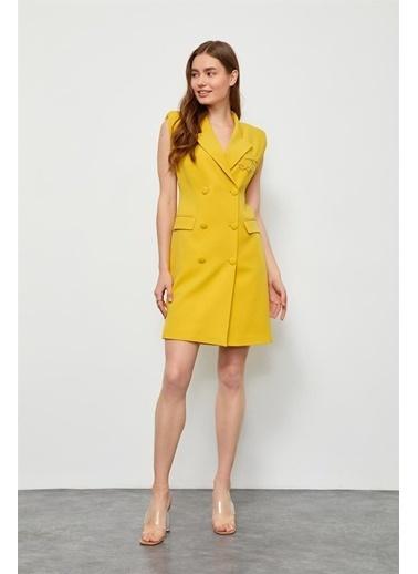 Setre Oranj Zincir Detaylı Ceket Elbise Sarı